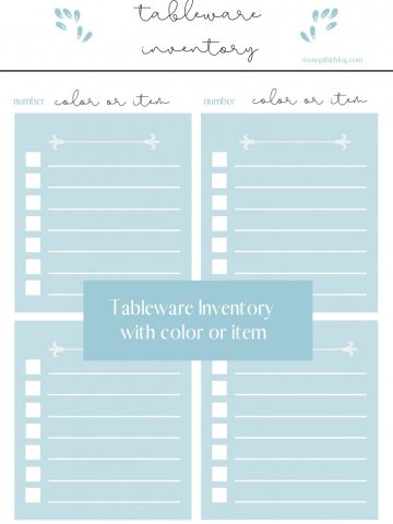 TABLEWARE INVENTORY PRINTABLE