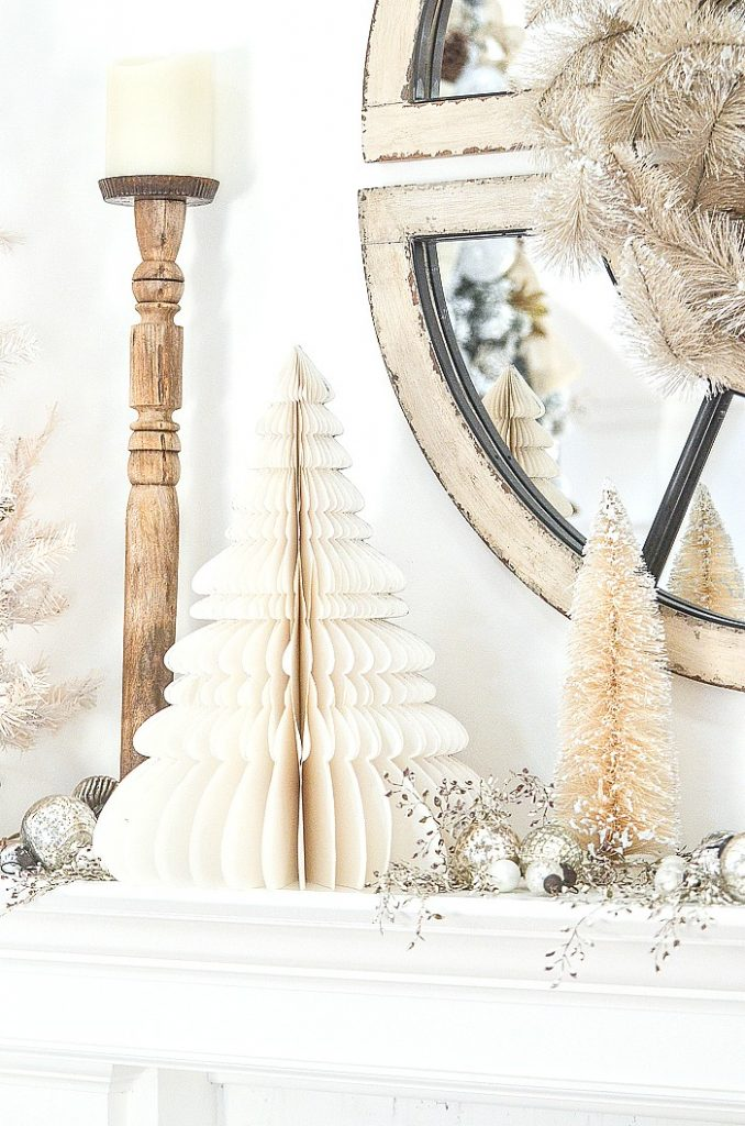 white trees on a Christmas mantel