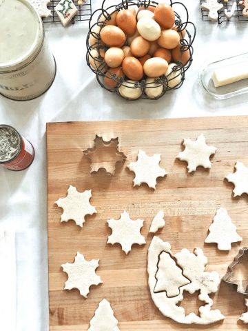 cutting our Christmas sugar cookie stars