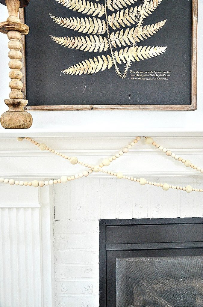 garland draped across the mantel