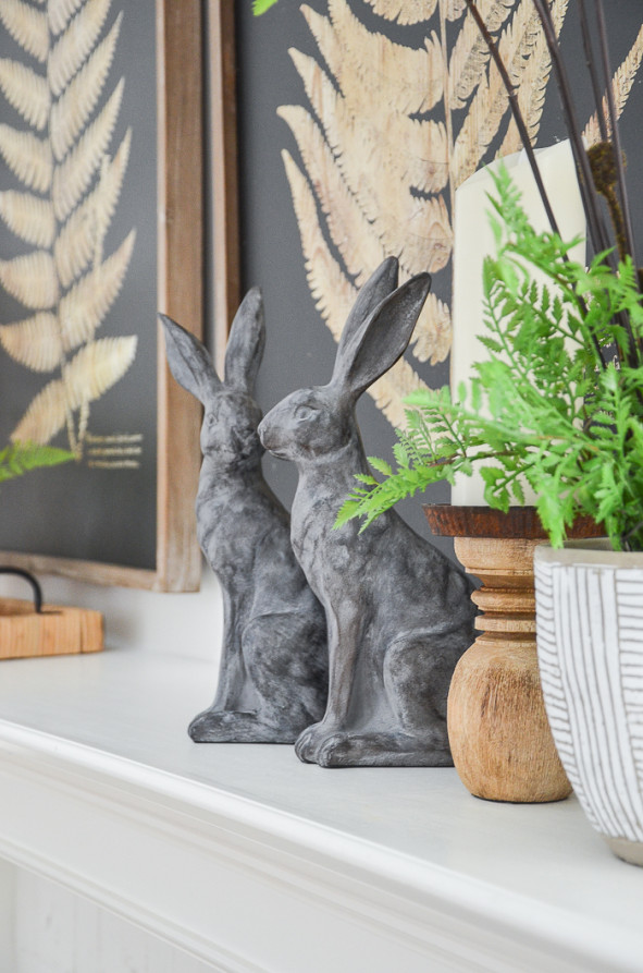 fern and rabbits on a spring mantel