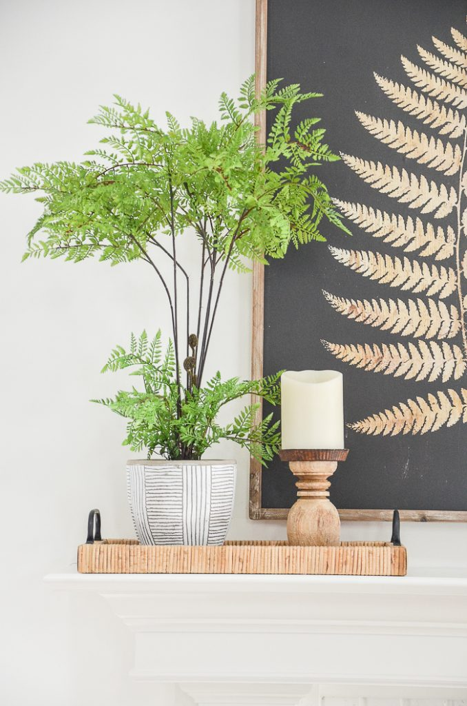 MANTEL WITH FERNS READY FOR A SPRING TOUR WITH LOTS OF SPRING DECORATING IDEAS
