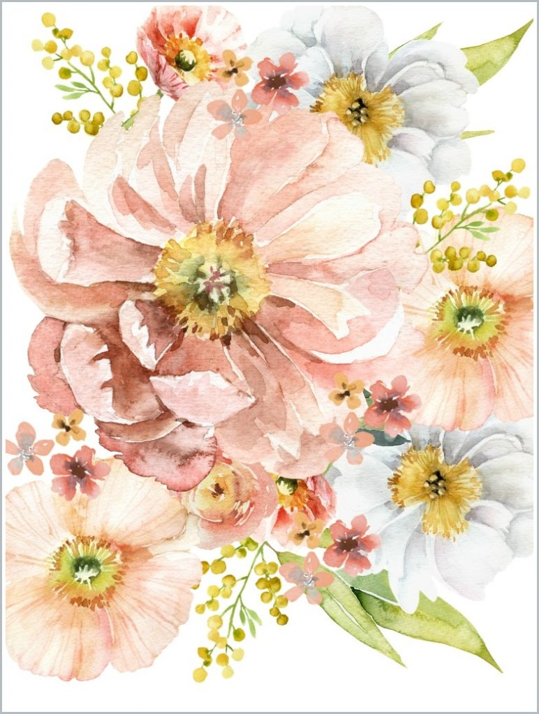 printable of rose and peach colored flowers