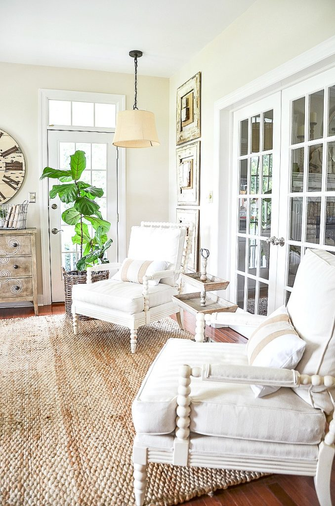 white spindle chairs