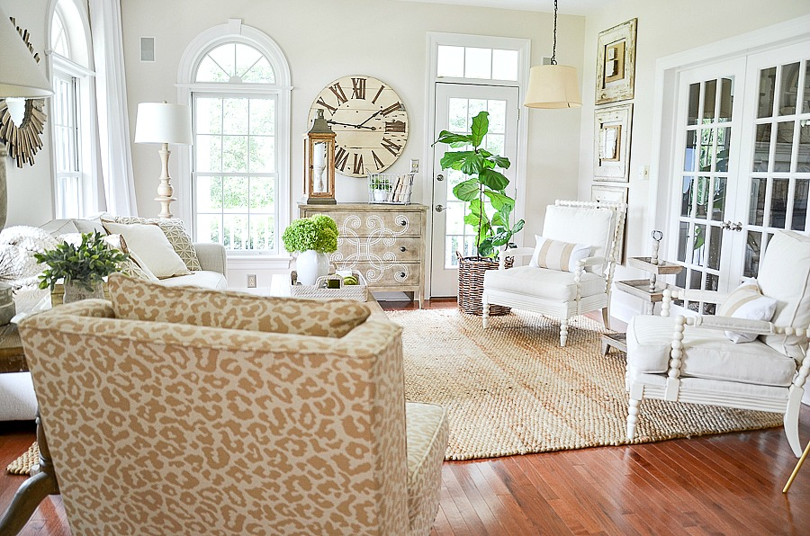 classic styled living room in neutral colors