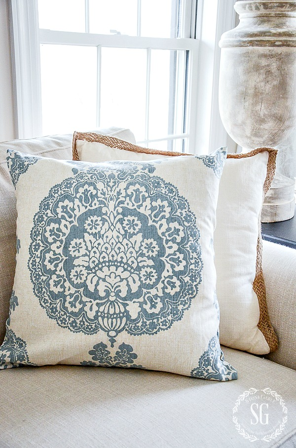 pretty blue and white pillow