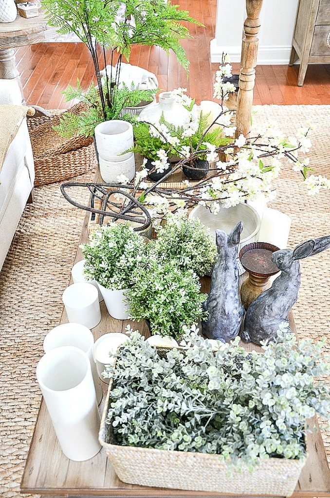 lots of spring inspired decor ready to style a spring mantel