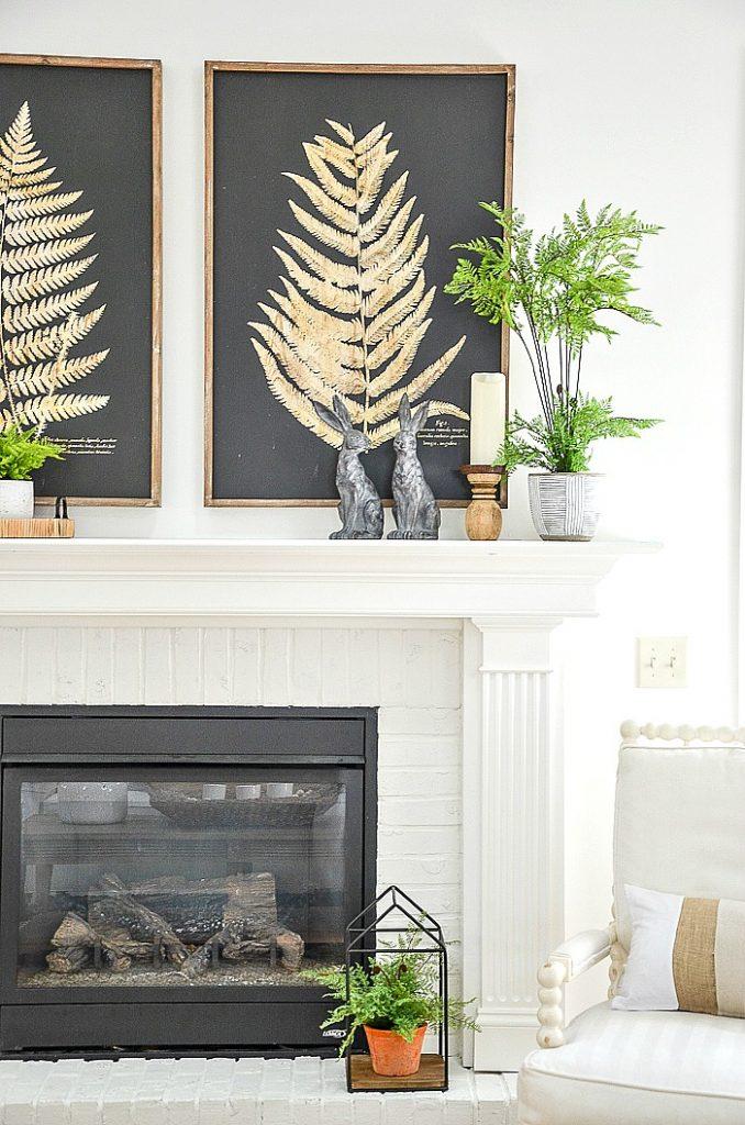 ferns on a spring mantel