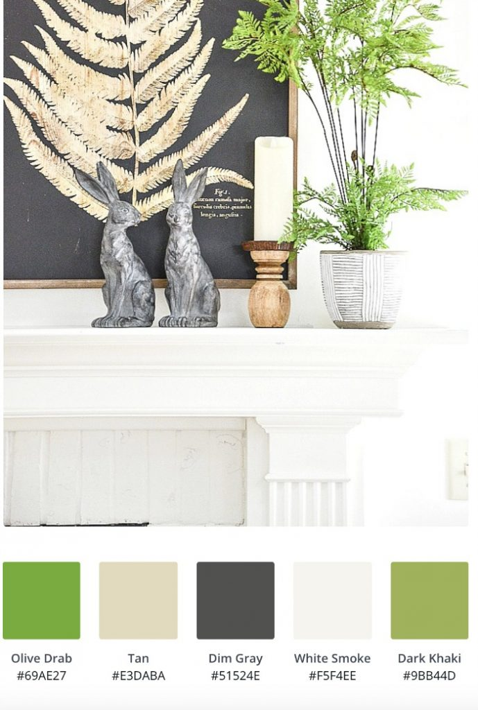 Color palette of black, white, blond and greens for a spring mantel