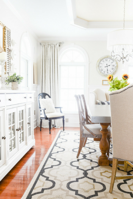 white buffet in formal dining room