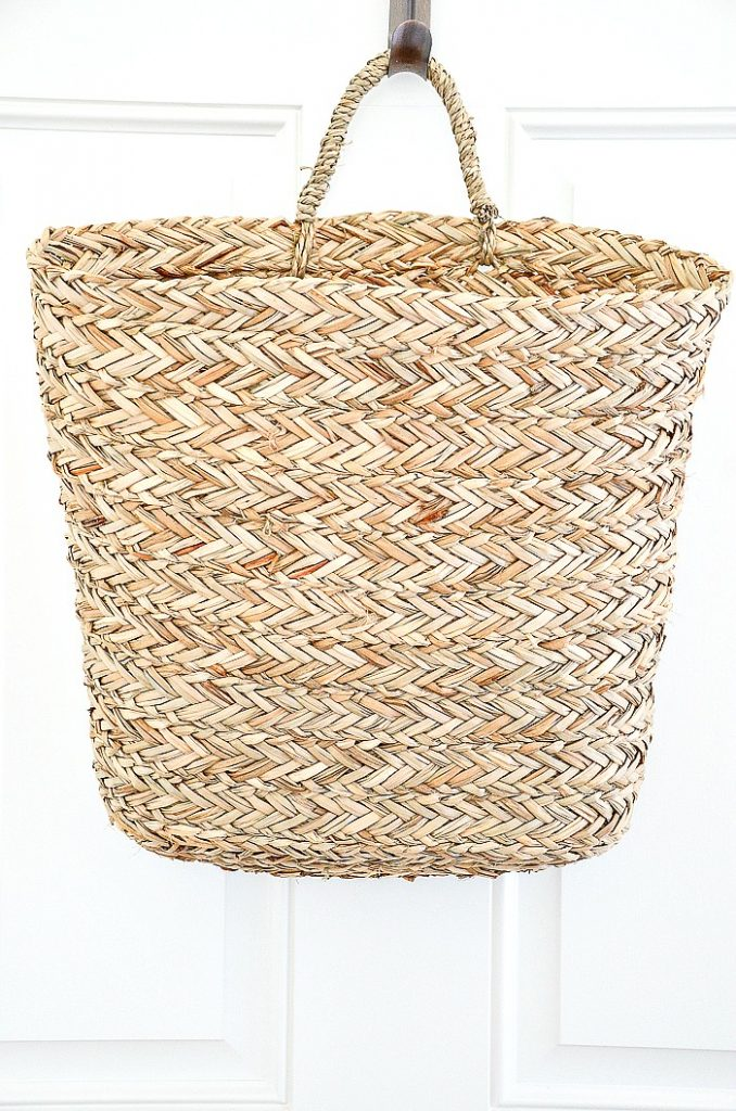 French basket hanging on a door