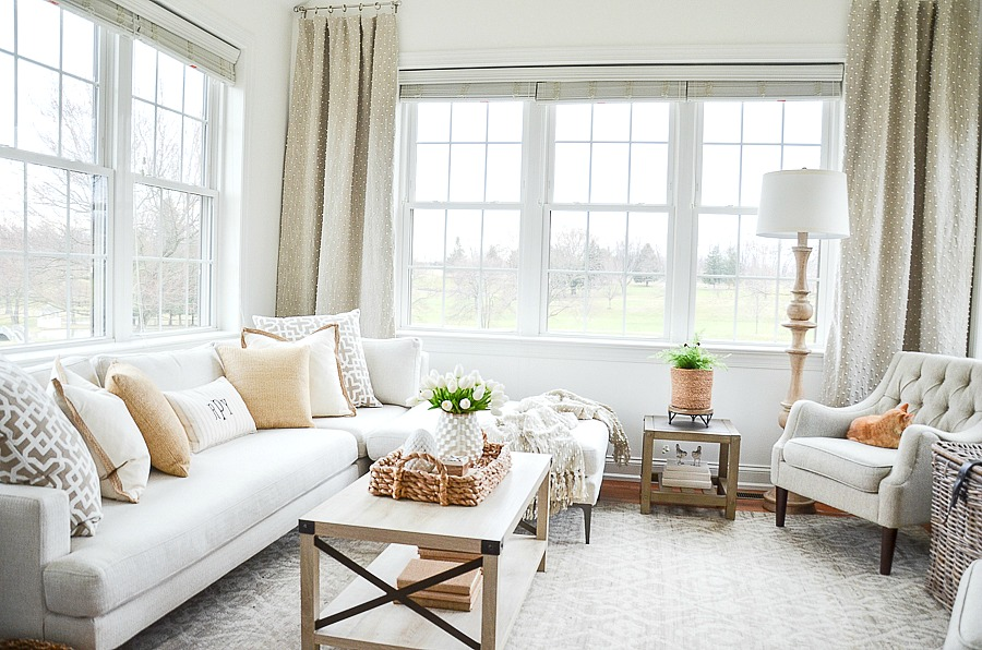 white sectional in a small room