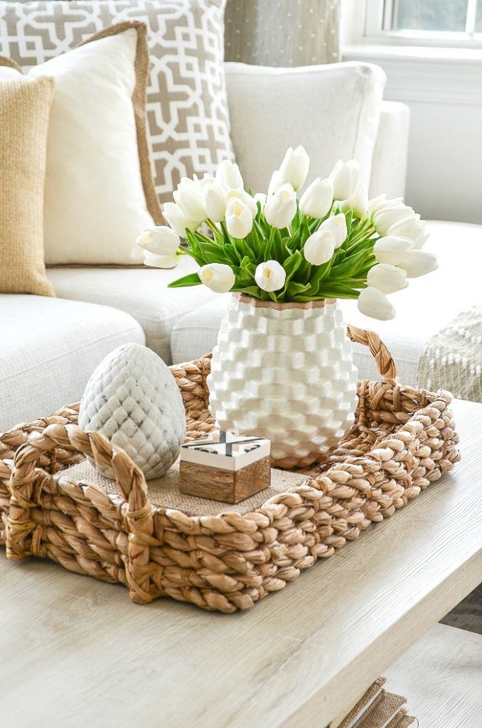 vignette with tulips in a small room