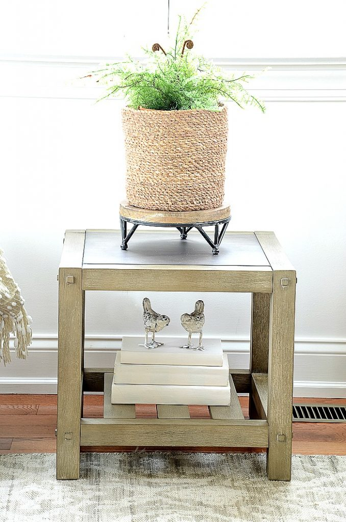 a fern on a table in an organized home
