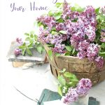 basket of lilacs in an organized home