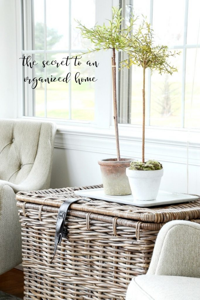 topiaries on a basket in an organized home