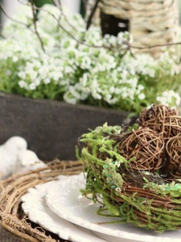 nest with willow balls on a stack of white plates