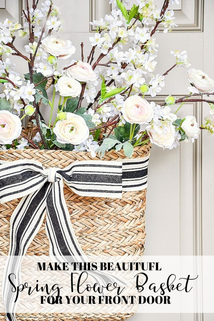 beautiful door basket filled with pretty spring blooms