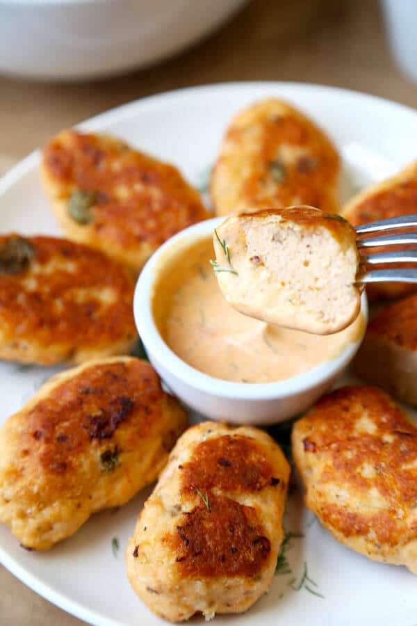 SALMON CAKES ON A PLATE