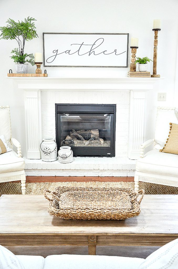 WHITE SPRING FIREPLACE AND MANTEL