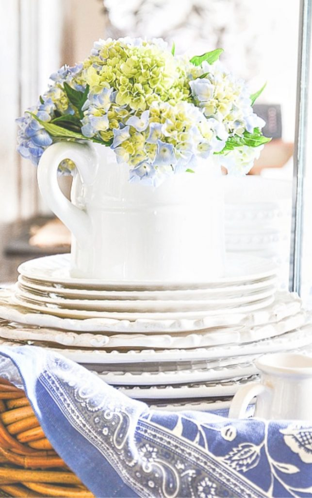 PRETTY BLUE HYDRANGEAS IN A WHITE PITCHER ON A BLUE AND WHTE CLOTH