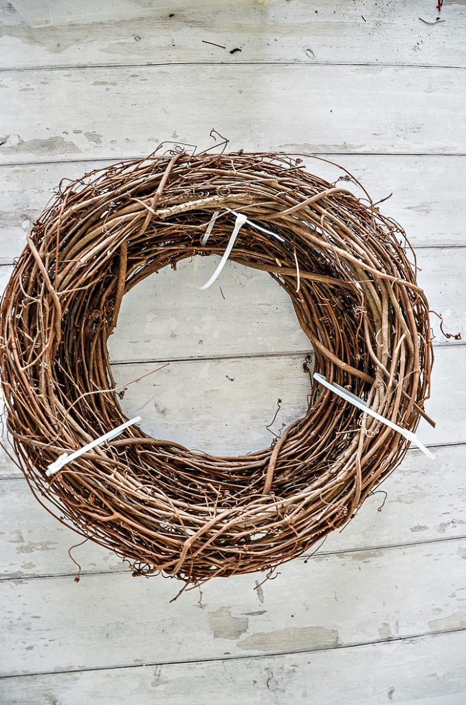 DOUBLE GRAPEVINE WREATHS IS THE BASE FOR A BEAUTIFUL WREATH