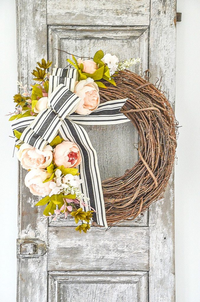 SUMMER FRONT DOOR WREATH ON A WEATHERED DOOR