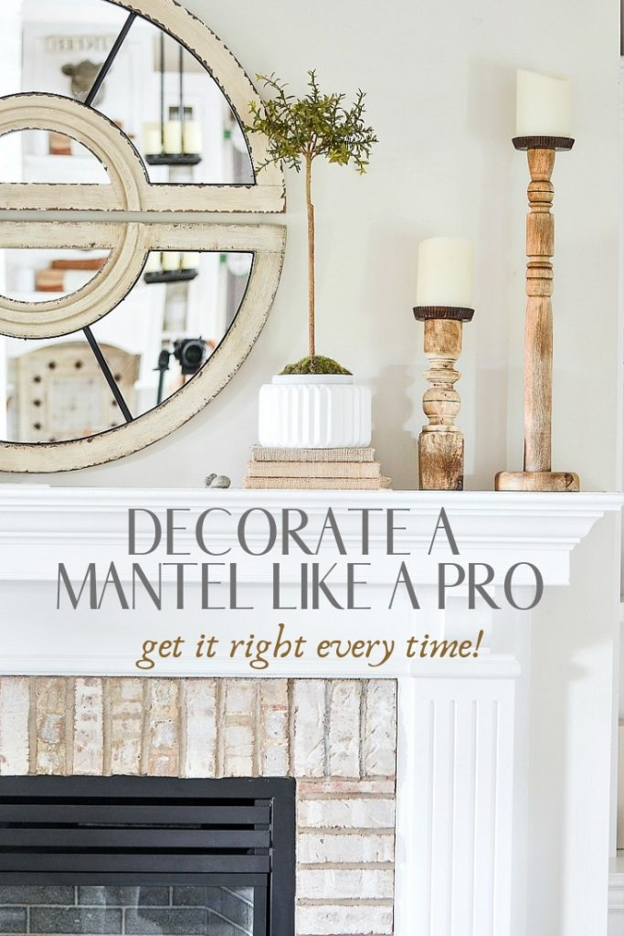 Decorate a mantel like a pro. Here are easy and doable tips to create the perfect mantel every time! #homedecor #decorating #mantel #manteldecor #decoratingtips #howtodecorate #stonegable