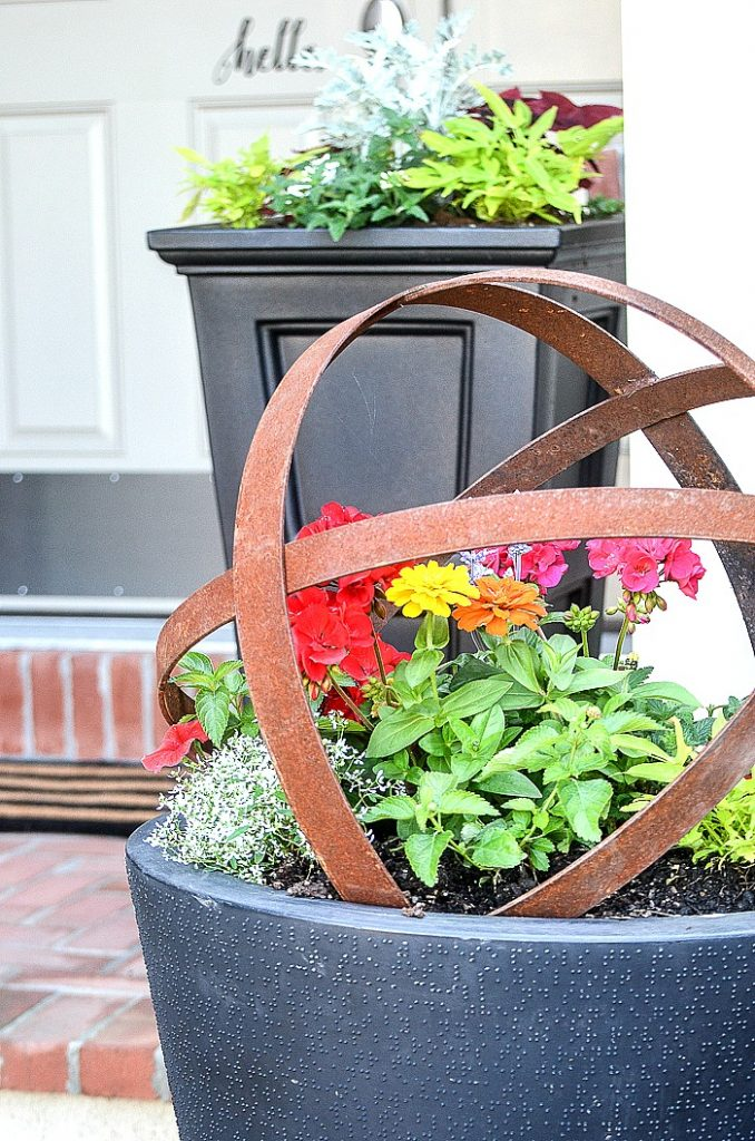 planters with summer flowers