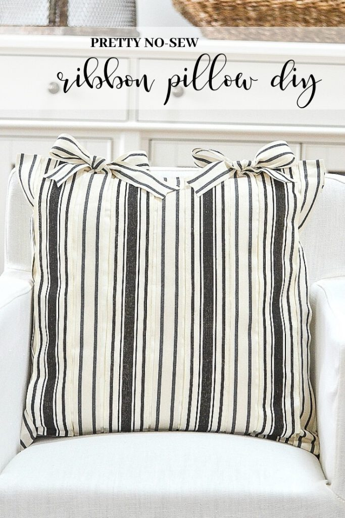 black and white ribbons that make a pretty pillow