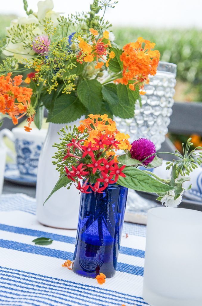 GARDEN FLOWERS ON A SUMMER TABLE