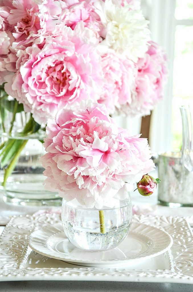 BEAUTIFUL PINK PEONIES ON A SUMMER TABLE