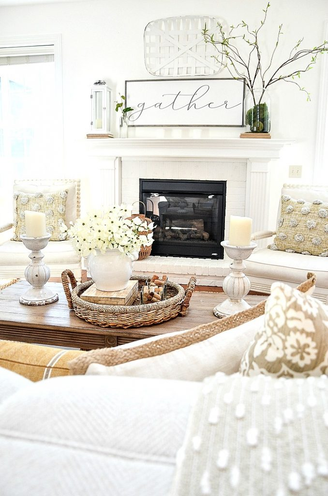 LIVING ROOM WITH A WHITE FIREPLACE THAT IS A FOCAL POINT