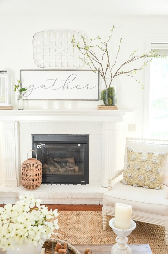 FIREPLACE IN THE GREAT ROOM ON A SUMMER HOME TOUR