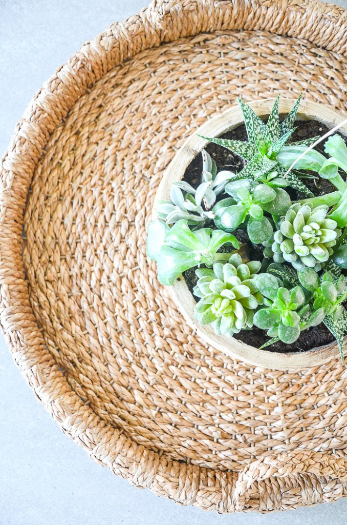A BIG BASKET WITH A ROUND WOODEN CONTAINER OF SUCCULENTS IN IT