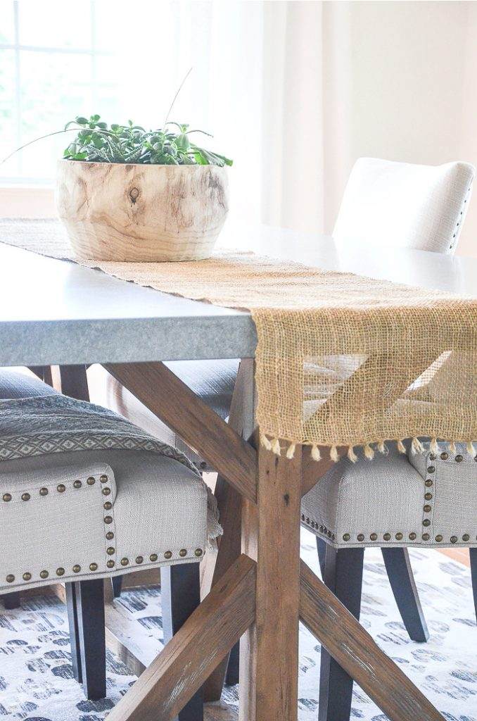 DINING ROOM CHAIRS WITH BURNISHED GOLD NAILHEADS