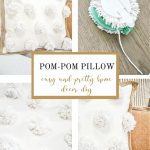 collage of making a pom-pom pillow