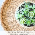 A ROUND BASKET WITH A ROUND WOODEN BOWL OF SUCCULENTS IN IT