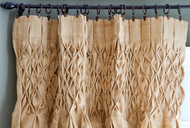 burlap smocked-top curtains