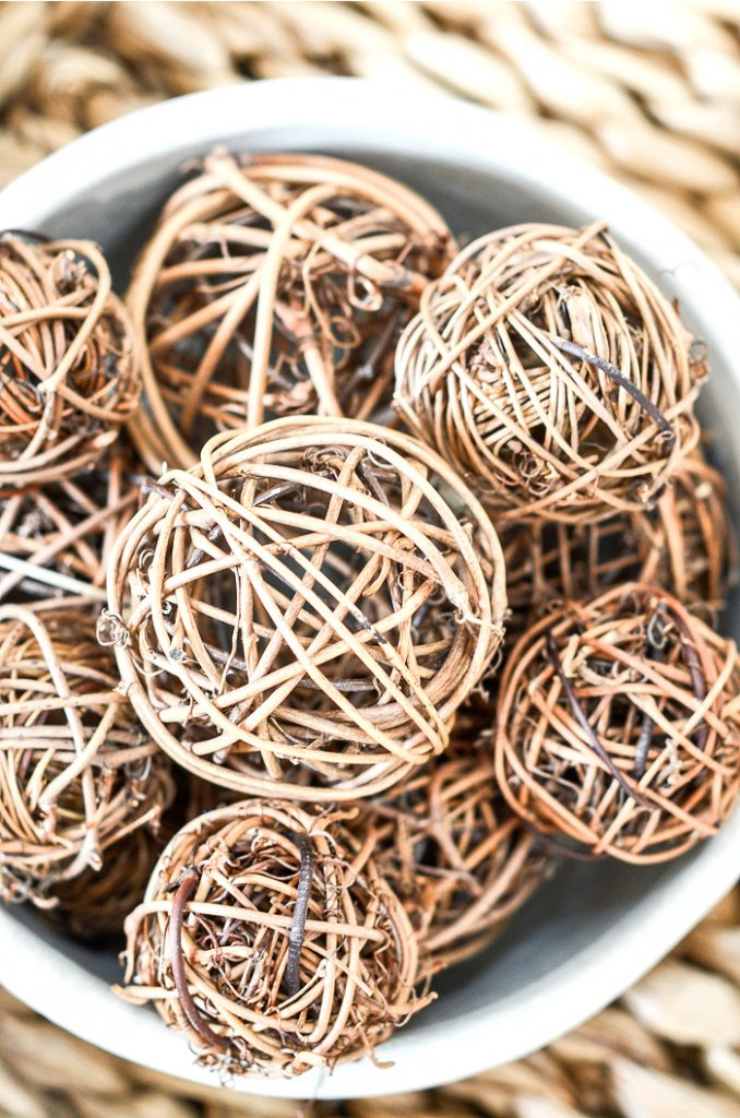 WILLOW BALLS IN A POTTERY BOWL