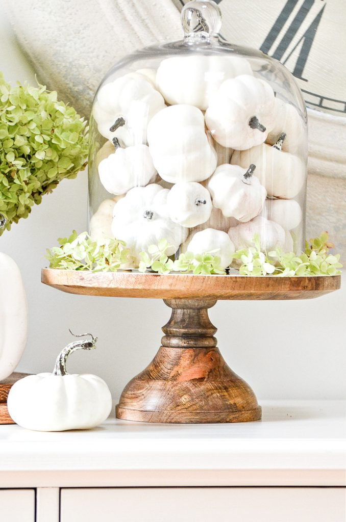A glass cloche filled with faux white pumpkins