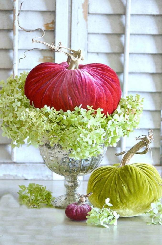 VELVET PUMPKINS SITTING IN THE MIDDLE OF GREEN DRIED HYDRANGEAS