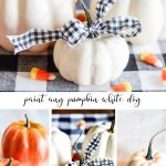 collage of white painted pumpkins