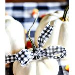 A BABY BOO PUMPKIN WITH A BLACK AND WHITE CHECKED RIBBON TIED AROUND THE STEM