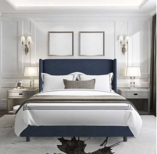 NAVY BLUE PLATFORM BED IN A PRETTY BEDROOM