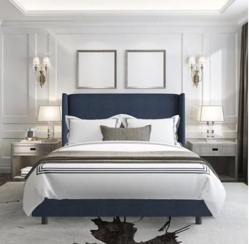NAVY BLUE PLATFORM BED IN A PRETTY BEDROOM
