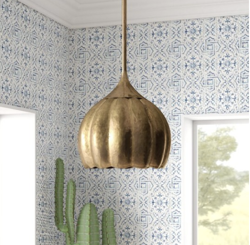 GOLD TONE TULIP PENDANT LIGHT