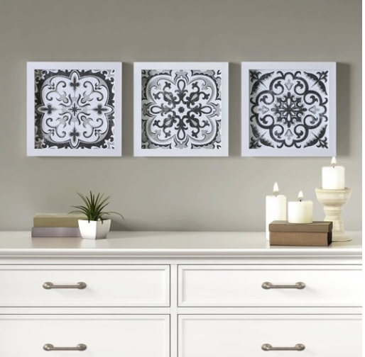 TRIO OF BLACK AND WHITE FRAMED TILES ON TREND FOR 2021
