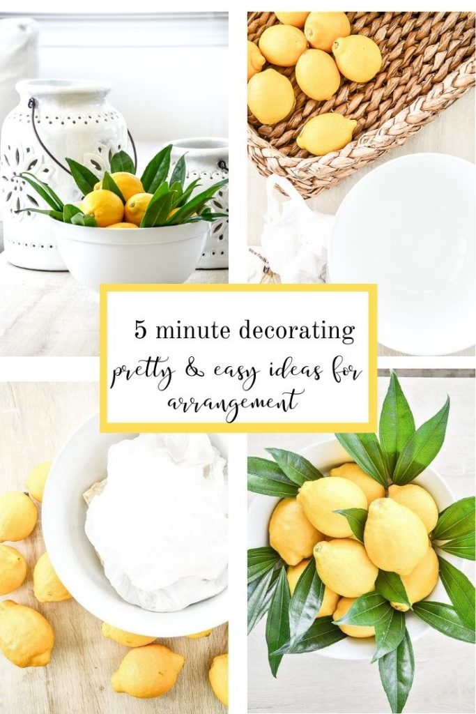 COLLAGE of how to make a 5 minute lemon arrangement