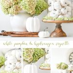 COLLAGE OF FALL WHITE PUMPKIN AND HYDRANGEA VIGNETTE